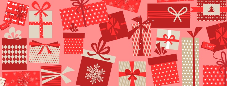 wrapped gifts with red background