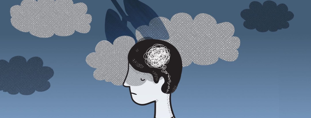 a person with a tangled line in his head with clouds and a pair of lungs behind him