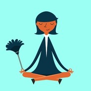 woman meditating with duster