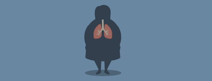 obese woman with lungs