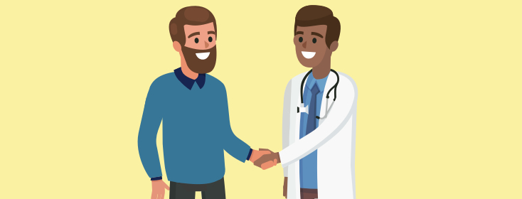 a patient shaking hands with a doctor