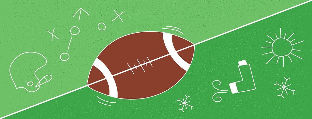 football with helmet, an inhaler, and snow