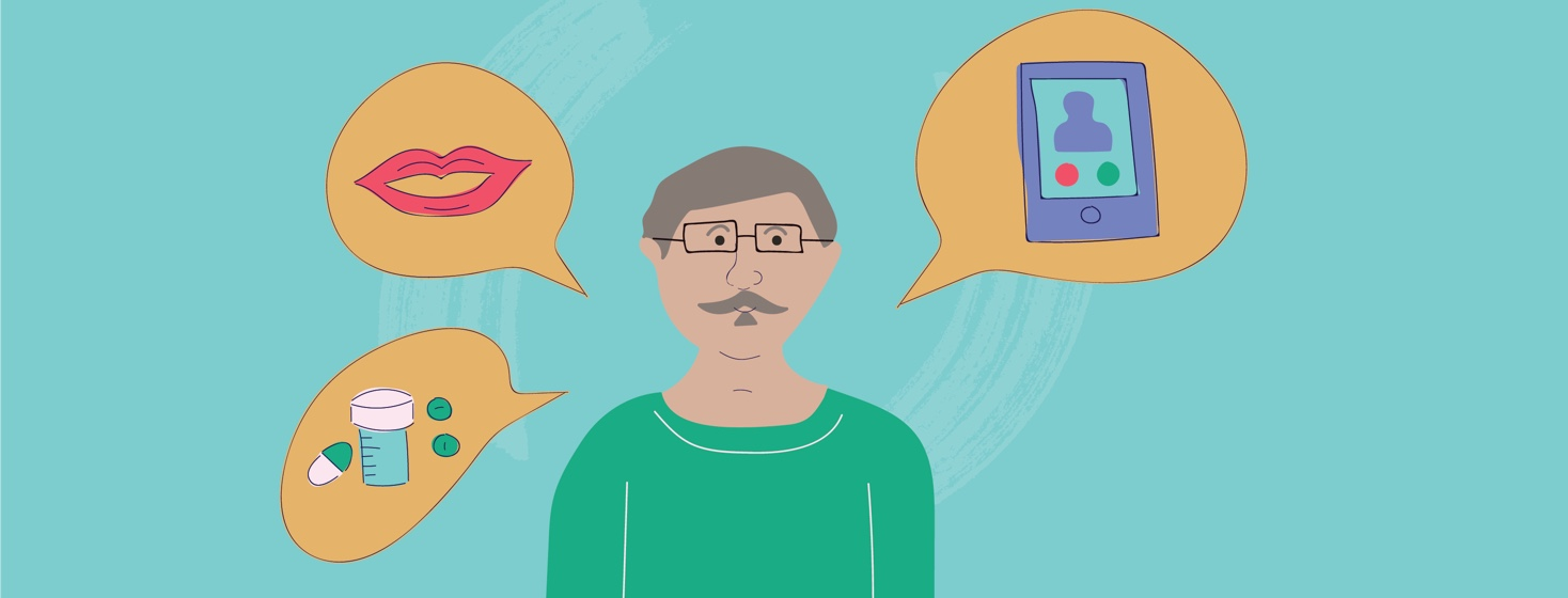 Older man with grey hair and a mustache surrounded by 3 thought bubbles. One is lips, one is a cell phone, and one is medications.