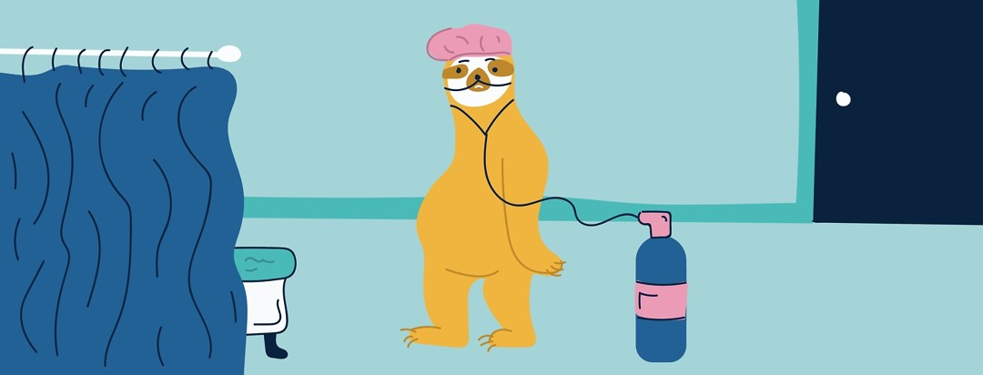 Sloth wearing an oxygen tank and walking towards the shower.