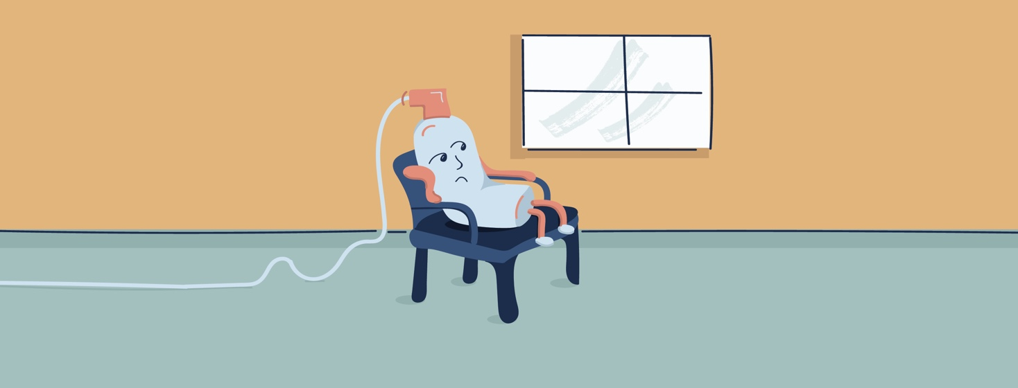 Illustrated oxygen tank sitting in a chair alone looking bored.