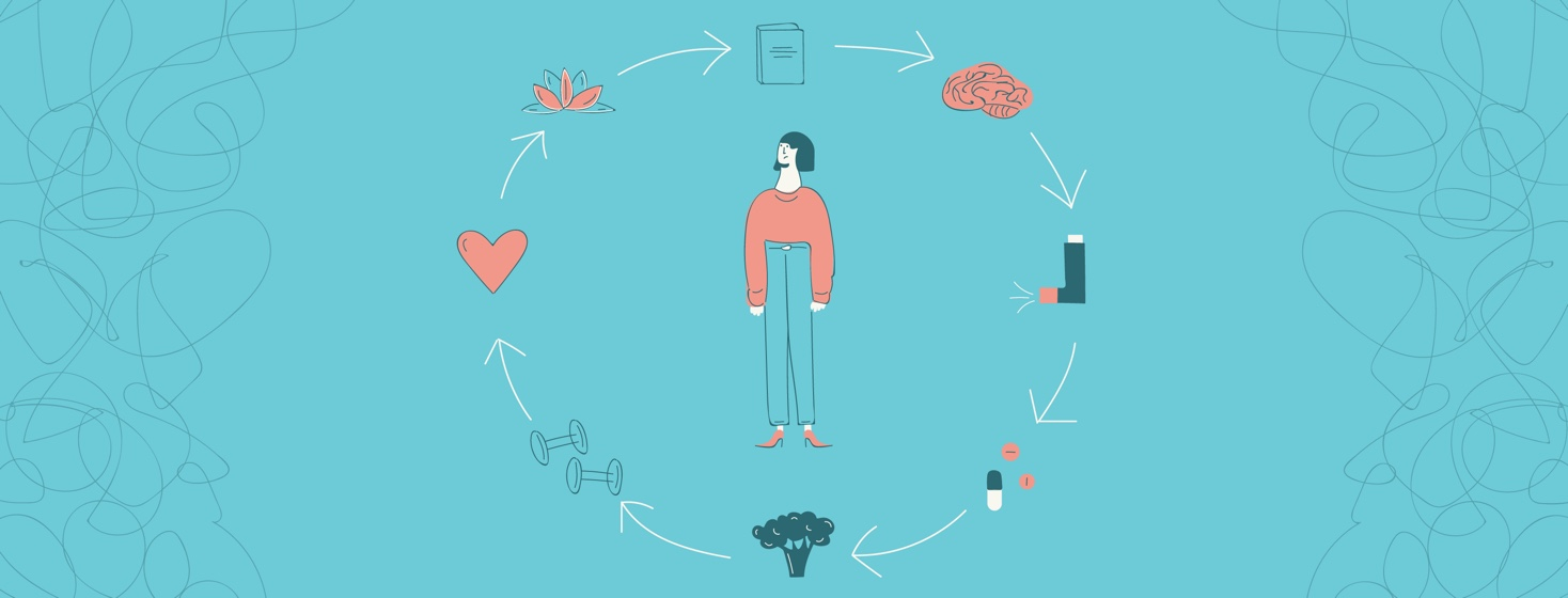 A woman with a book, a brain, an inhaler, pills, broccoli, weights, a heart and a lotus flower circling around her