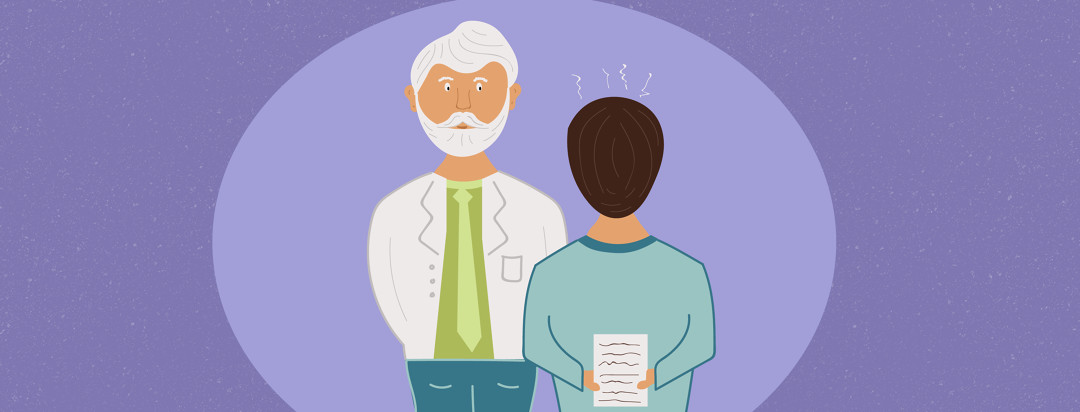 A nervous man talking to his doctor