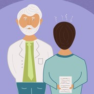 A nervous patient talking to his doctor