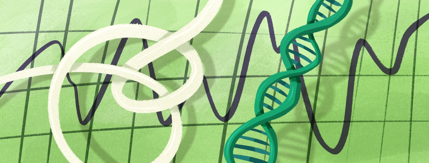 A DNA strand, vital signs, and other general medical motifs on a green background.