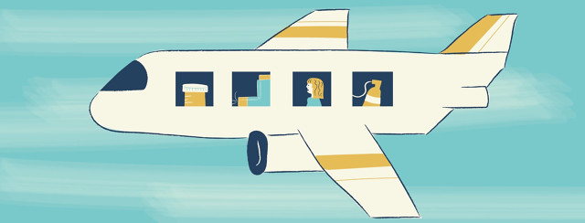 An airplane and in each window is a woman, oxygen, an inhaler, and a pill bottle