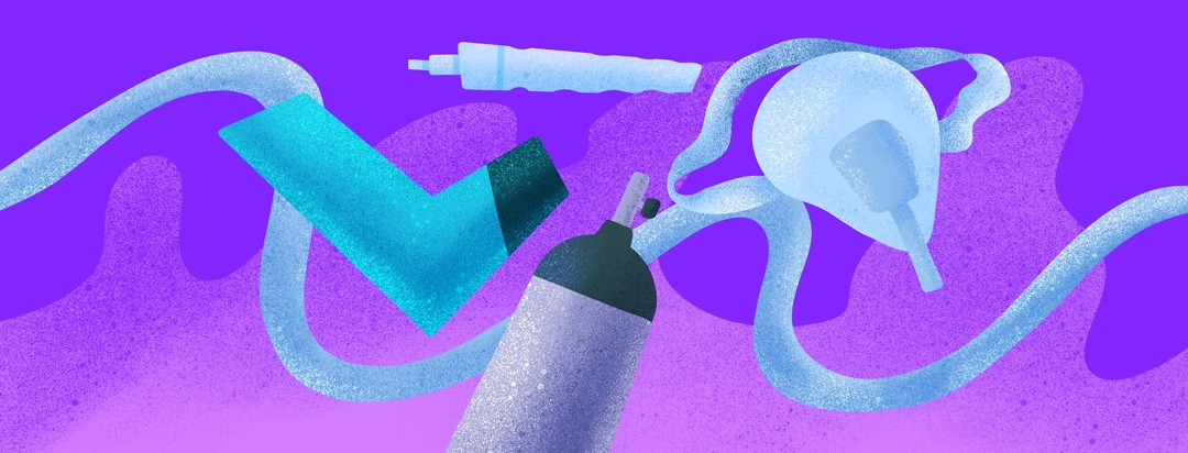 Asthma and COPD medical equipment against a purple background.