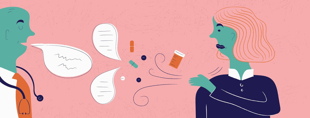 A woman brushing off her medications and her doctors adivce