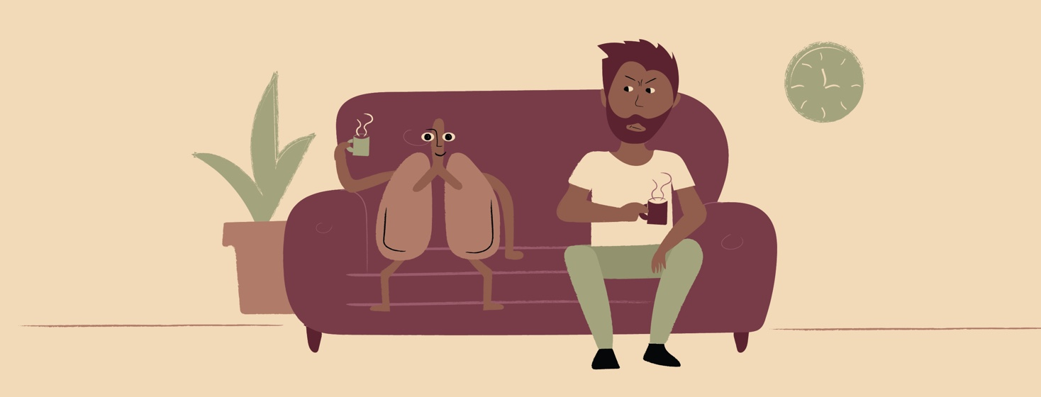 Man and lungs sitting on a couch drinking coffee, the man looking at the lungs with an annoyed look