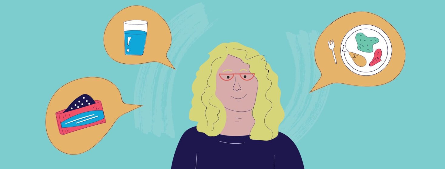woman with speech bubbles around her one showing water, the other medication, and the last one a plate of food
