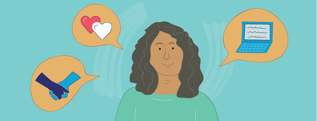 Woman with hears, a laptop, and people holding hands in speech bubbles around her