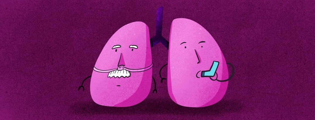 Two animated lungs, one with oxygen tubs on its nose, one with an inhaler in its mouth.