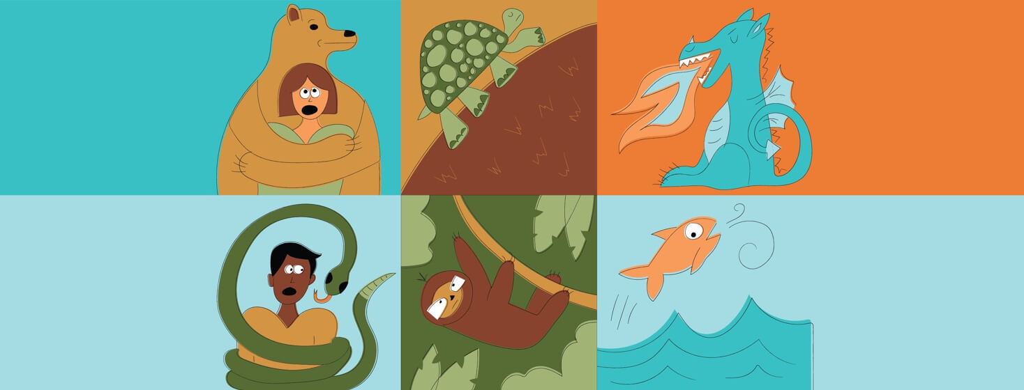 boxes with animals related to COPD such as a bear, a snake, a turtle, a sloth, a dragon, and a fish