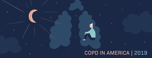 COPD In America 2019. A person sitting on a cloud shaped like lungs