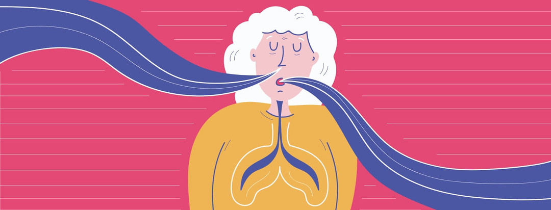 A woman practicing her breathing exercises
