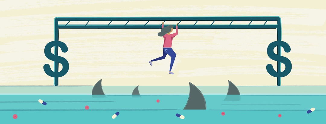 A woman swinging across dollar sign monkey bars over shark infested water