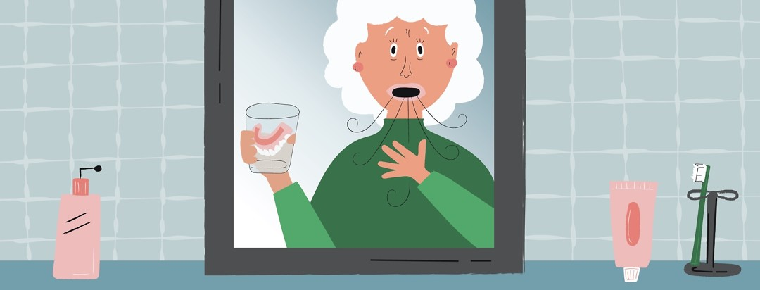 Woman with her dentures in a cup, trying to breathe