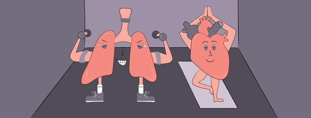 a pair of lungs lifting weights and a heart doing yoga