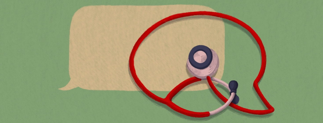 two overlapping speech bubbles, one of which is made out of a stethoscope