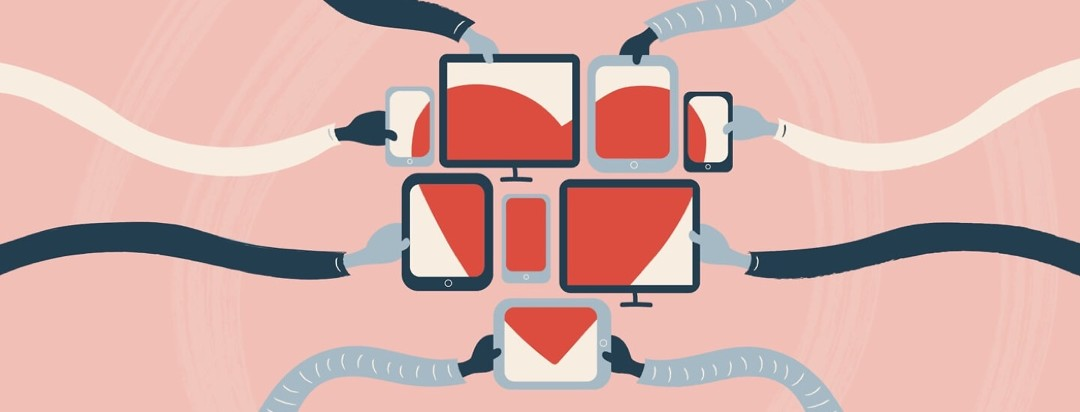 hands holding their phones, laptops, and computers together to show a heart on all of their screens