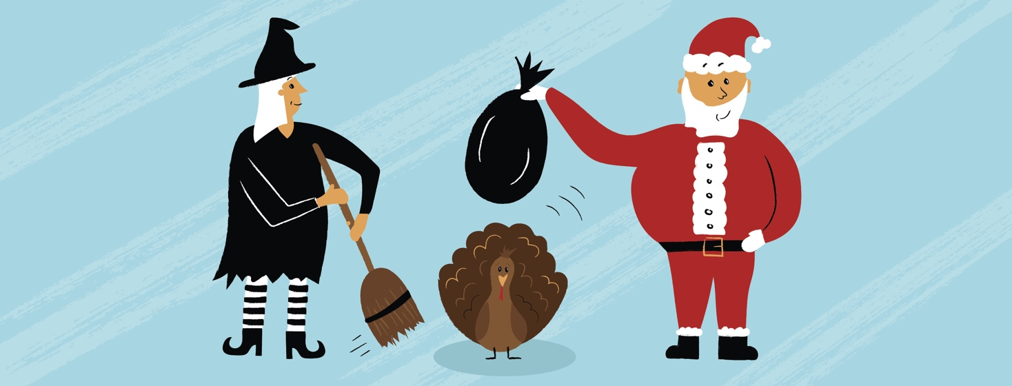 a small turkey in between a with with a broom and Santa with his bag