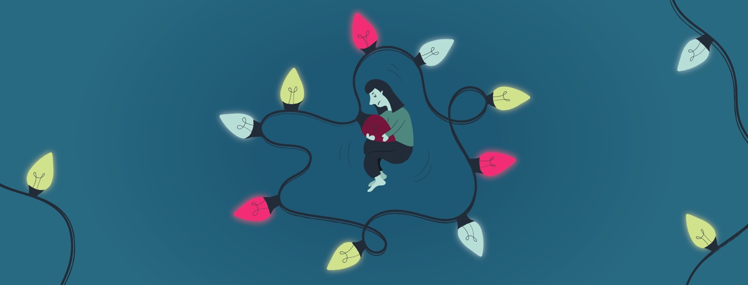 a sad woman curled up around a burnt out Christmas light bulb surrounded by brightly lit light bulbs