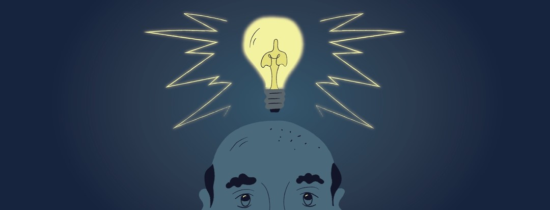the top of a man's head with a lightbulb above him with wires inside shaped like lungs