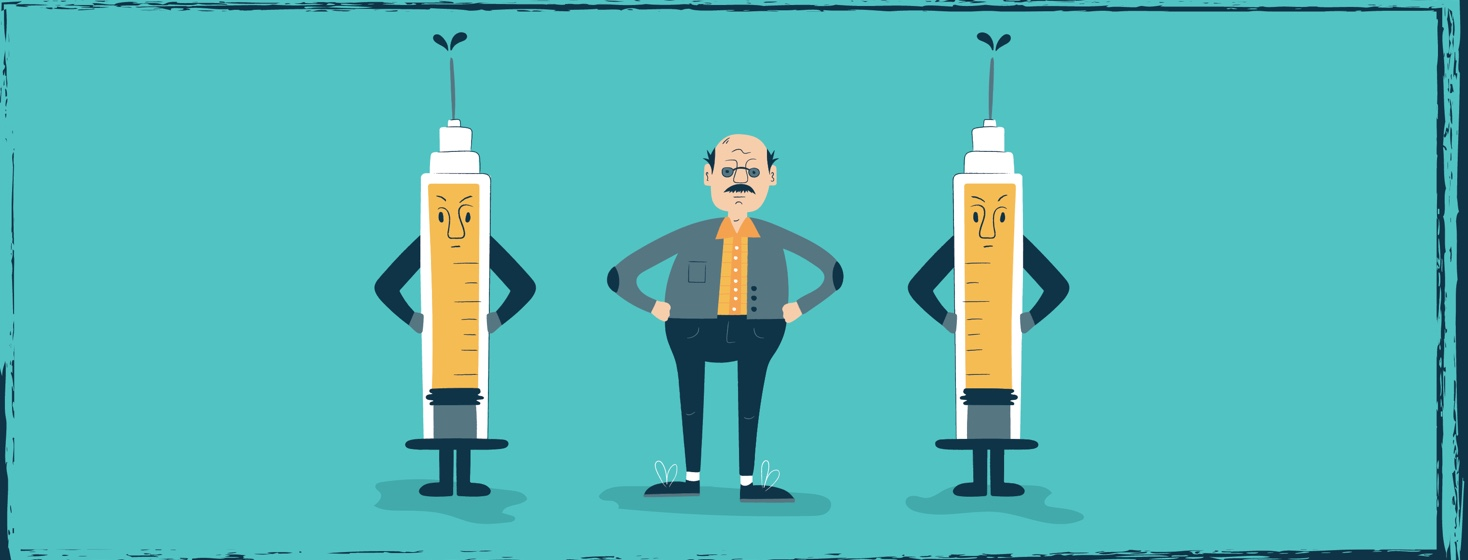 a man with a large flu shot standing on either side of him