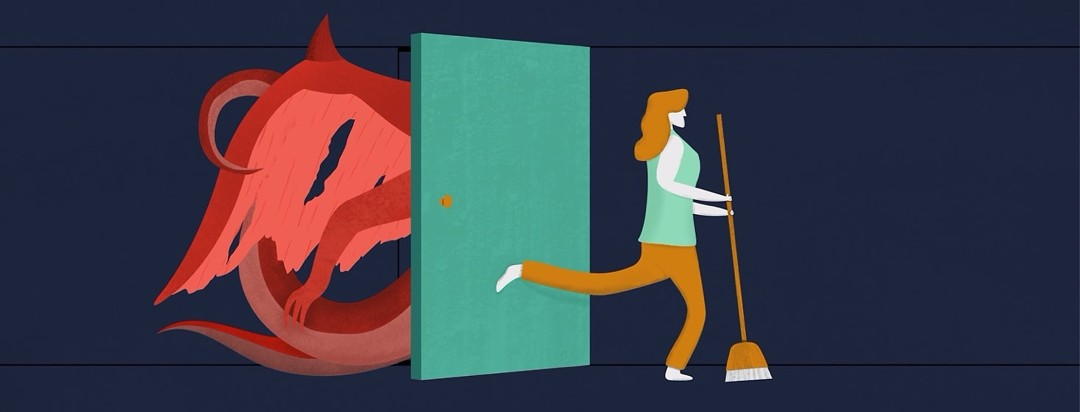 A woman sweeping while trying to keep a door closed with her foot while a monster tries to push its way out