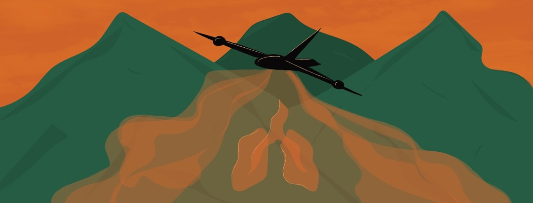 a plane flying over mountains, spraying agent orange which is making the shape of lungs