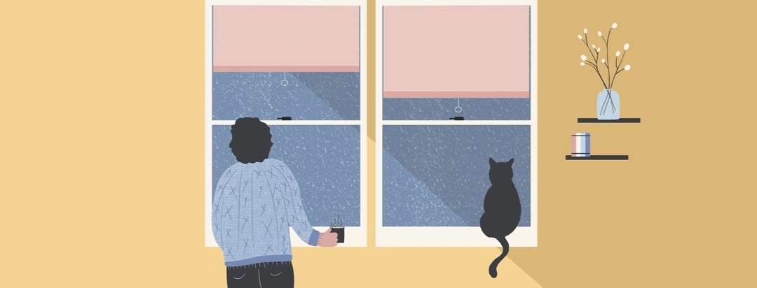 A woman and her cat looking out the window at a dreary day