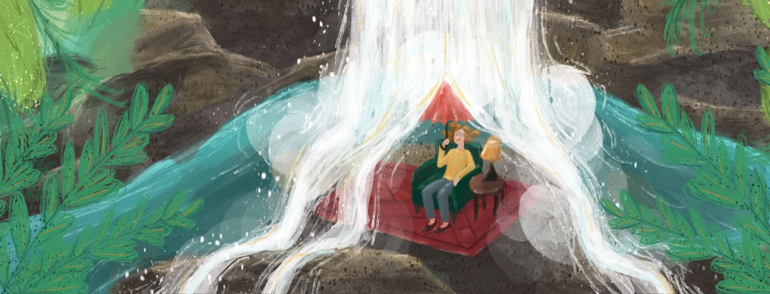 Annoyed woman sitting in armchair in the jungle holding an umbrella while a waterfall pours overhead