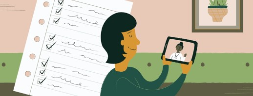 A woman on a virtual doctor's visit, and a checklist next to her