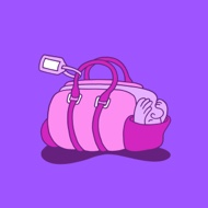 image of a cartoonish anthropomorphic duffle bag, covering his eyes