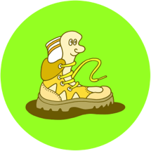 image of a cartoonish anthropomorphic hiking boot blazing a trail