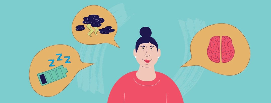 a woman with speech bubbles around her showing a brain, clouds with lightening, and a low battery