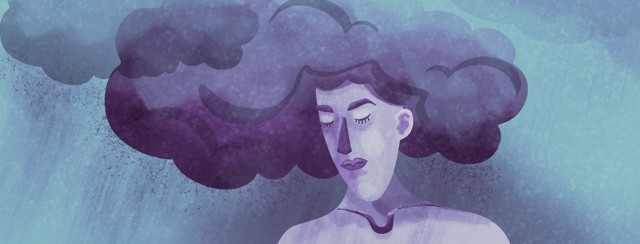 a sad looking woman who's hair is also a dark cloud with rain around her