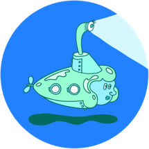 image of a cartoonish anthropomorphic female submarine diving in the sea