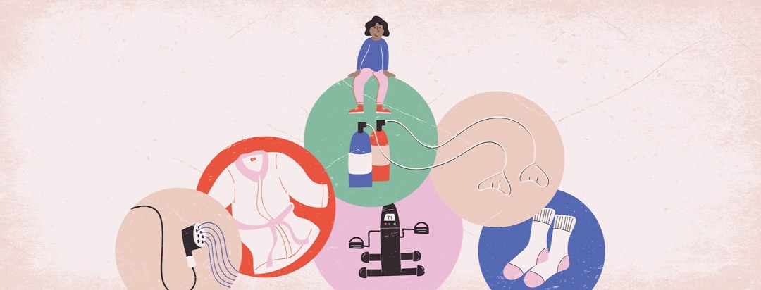 a woman sitting on top of five circles showing oxygen tanks and cannulas, socks, a robe, an exercise peddler, and a shower head