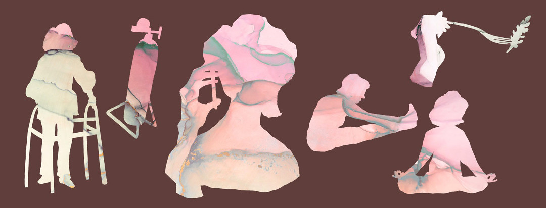 paper cutout silhouettes of a woman doing several activities from the article like talking on the phone, stretching, meditating, and others.