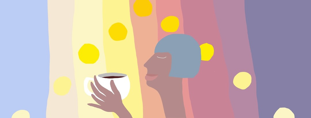 a cut-paper style illustration of a peaceful woman sipping coffee as a colorful background depicts the sun rising and setting