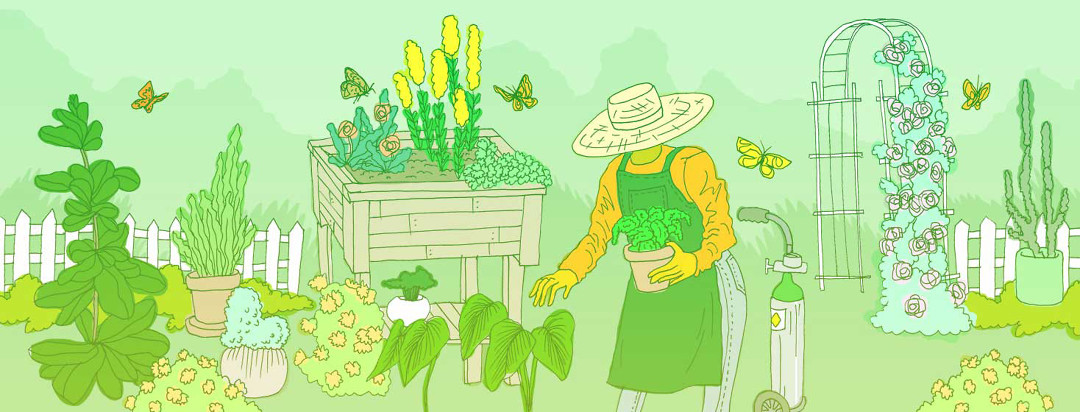 a woman in a sun hat is gardening in a lush green yard with her oxygen tank