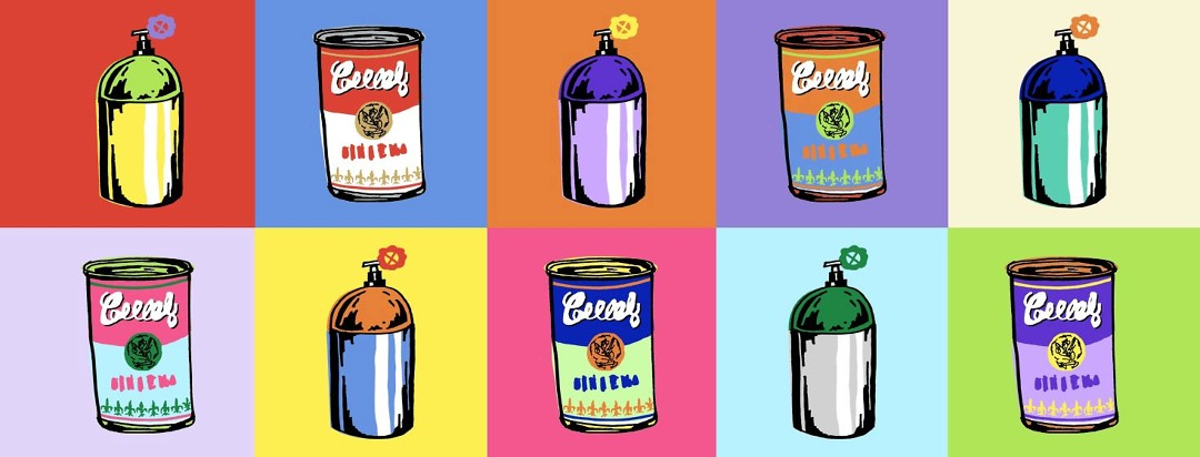 colorful pop art inspired image of a can of alphabet soup and a tank of oxygen