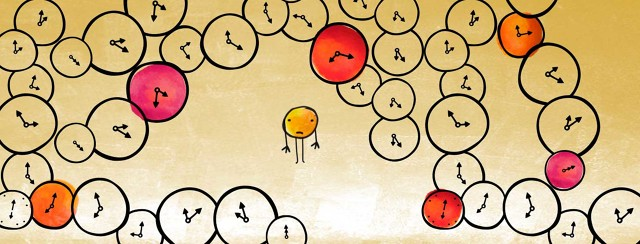 a small illustrated circle character is surrounded by lots of circular clocks
