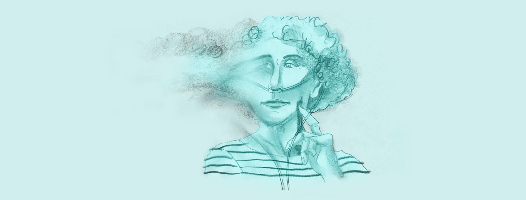 pencil drawing of a woman with an oxygen tube has a fuzzy, foggy head, where half of her face is blurring and fading away in a cloud of smoke