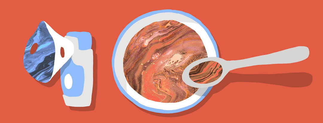 collage style image of a bowl of soup and nebulizer, each with a marbled paper texture